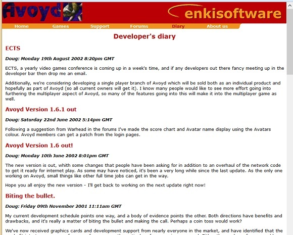 The original Developer's Diary page on our old website