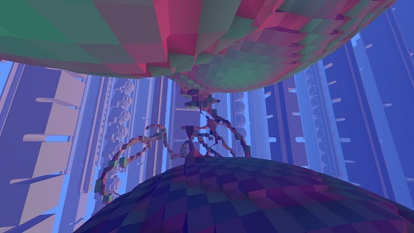 Avoyd voxel game prototype screenshot - Variable amount of material in each voxel shown with debug colours