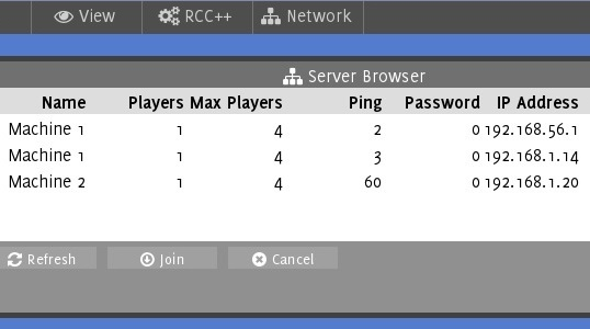 Avoyd screenshot - user interface showing LAN discovery with two servers running on two different machines