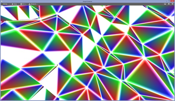 Avoyd - bug in the debug barycentric coordinates with glowing additive outlines