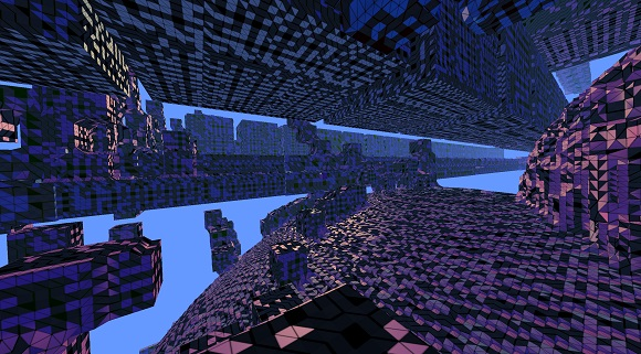 Avoyd voxel game prototype screenshot - Scene featuring the black triangle bug