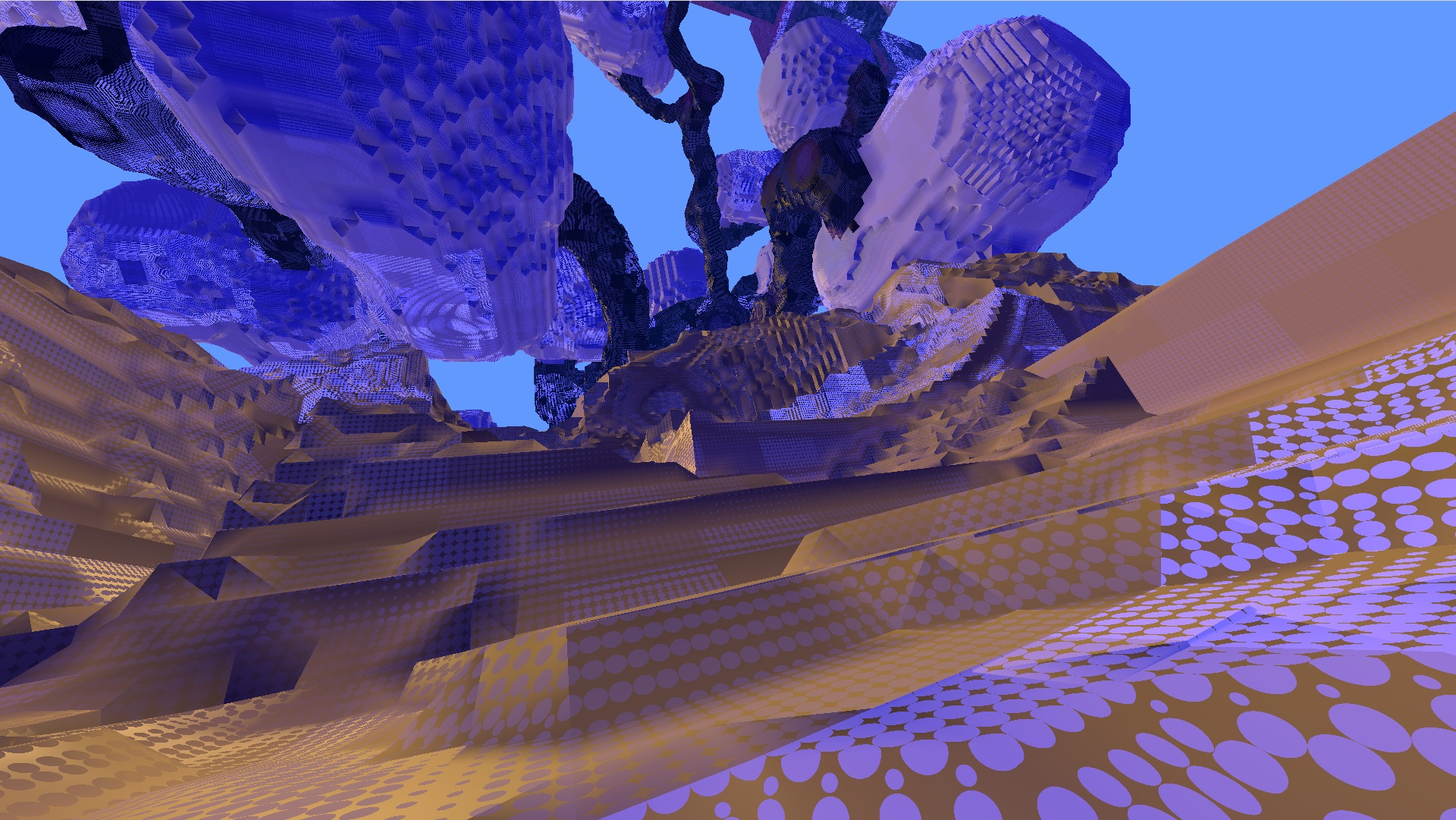 Avoyd voxel game prototype screenshot - Glowing patterns and tree