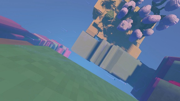 Avoyd voxel game prototype screenshot - First avatars with trails, circling the world