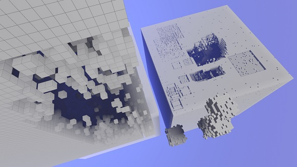 Avoyd screenshot showing experiments with procedurally generated greeble.