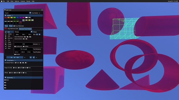 Avoyd screenshot of shapes available in the voxel editor. Starting from the top left: wedge, box, sphere, cylinder, a rotated wedge, an ellipsoid, two tubes, a cube, a cone and a corner.