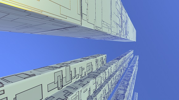 Procedural generation in Avoyd: towers of greebled boxes