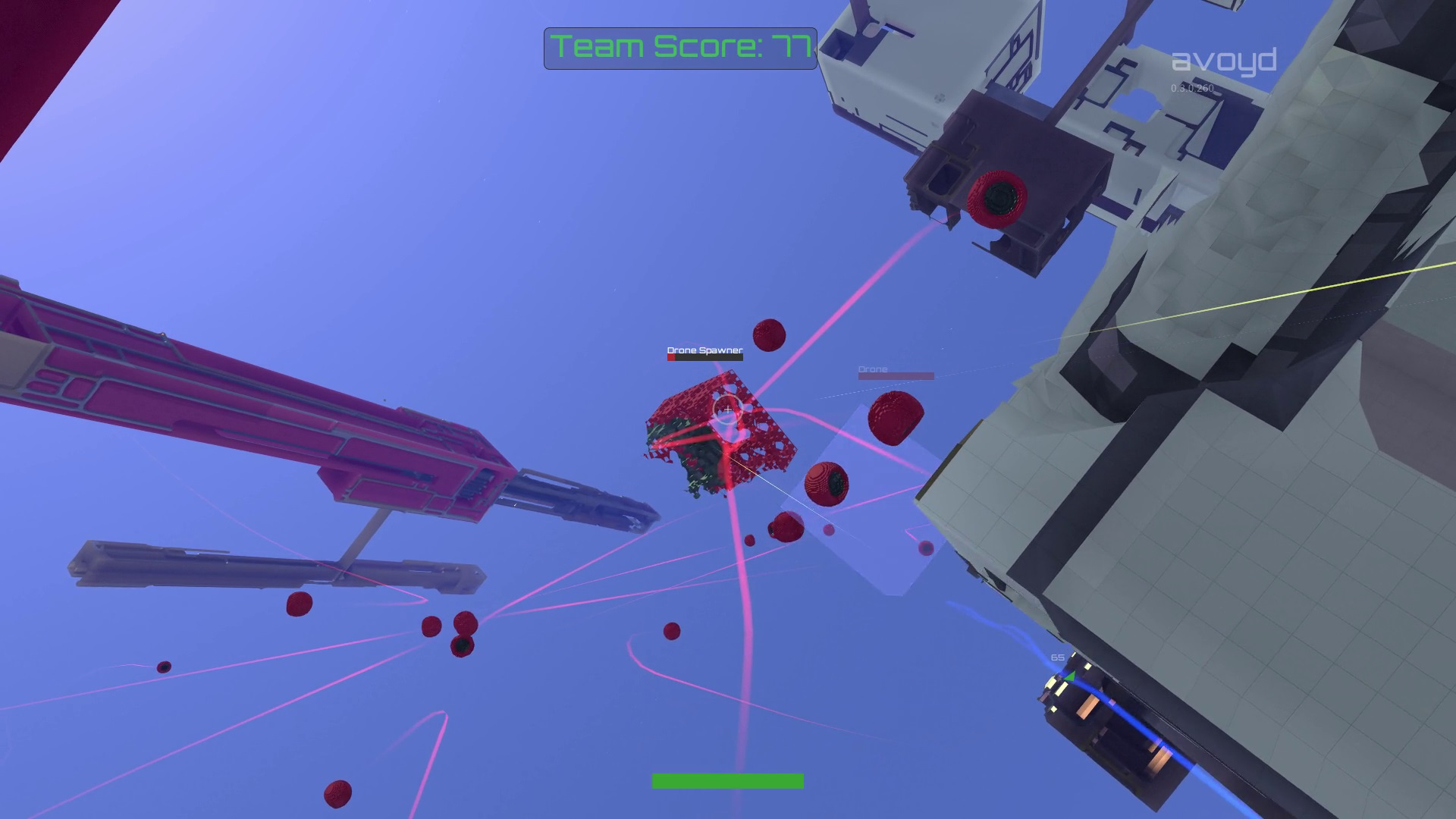 Avoyd version 3.0 - a damaged drone spawner spews a wave of drone fighters