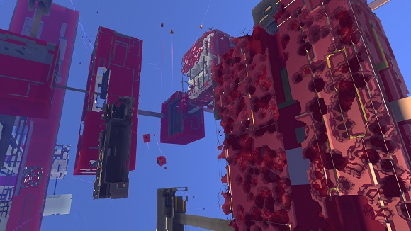 Procedural generation in Avoyd: in-game drones damage the boxes