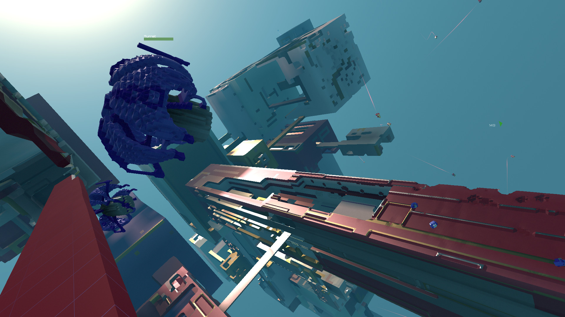 Avoyd in-game screenshot - Turret drones deployed by players are static. They scan space to detect nearby opposition drones and shoot at them. Because the game is taking place in zero gravity (6 degrees of freedom), it can be a good idea to place turrets so they triangulate a wide volume but with their back to a surface for protection. Currently players can deploy up to four turrets.