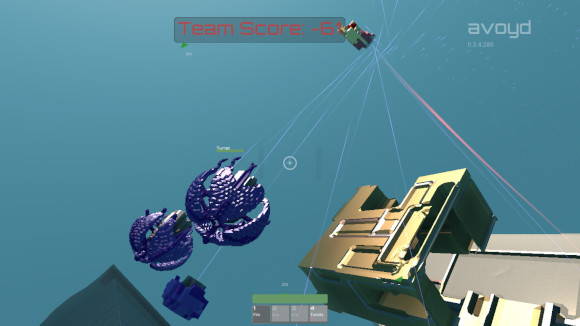 In-game screenshot of Avoyd showing turrets firing at an enemy drone