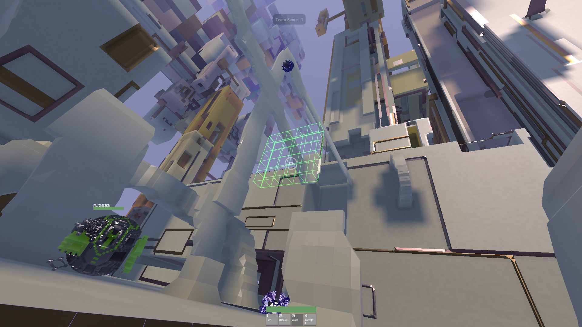 Avoyd in-game screenshot - In-game building: adding ceramic walls and arches to the procedurally generated environment. The building cursor is the green wireframe in the centre of the screen. The player (metal and green spherical avatar) deployed turrets (blue).