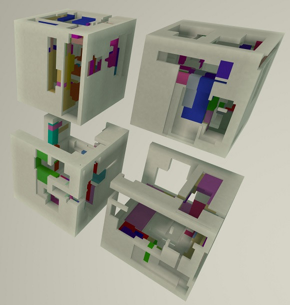 Procedurally hollowed and coloured boxes with the colour restricted to the inside of the box.