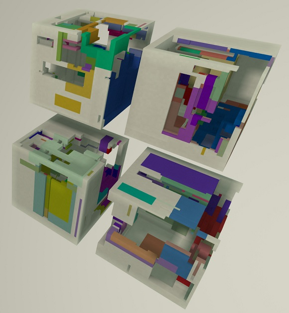 Procedurally hollowed and coloured boxes