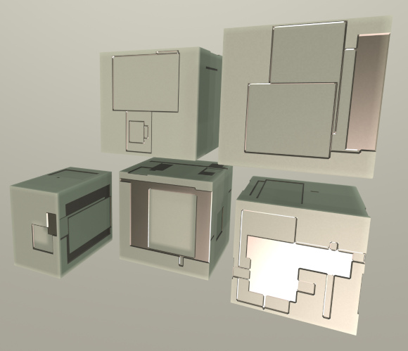 Procedurally greebled voxel boxes