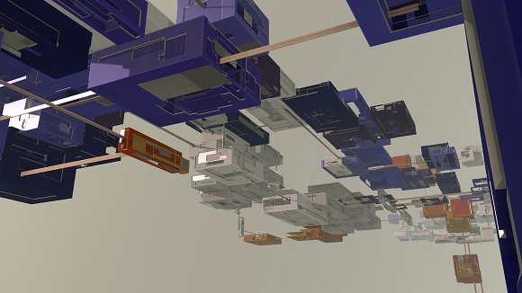 Procedurally generated zero gravity, abstract voxel world. It features hollowed, coloured boxes grouped in clusters and linked by metal bridges. All boxes are decorated with greeble.