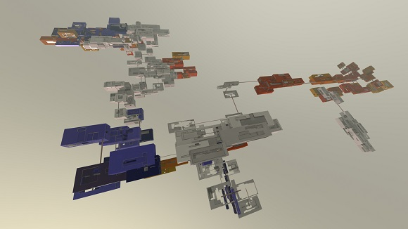 Procedurally generated set of clusters with bridges, each box is connected to the next by a bridge.