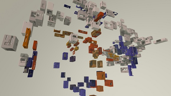 Procedural boxes clustered by colour palette, shape, and separation (distance)