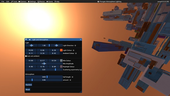 Procedural atmosphere and lighting generation in Avoyd. Ambient lighting set manually.
