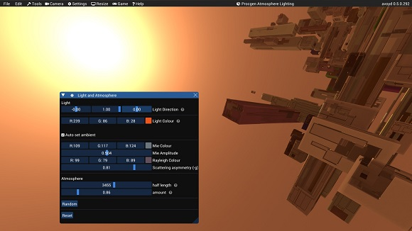 Procedural atmosphere and lighting generation in Avoyd. Ambient lighting calculated automatically
