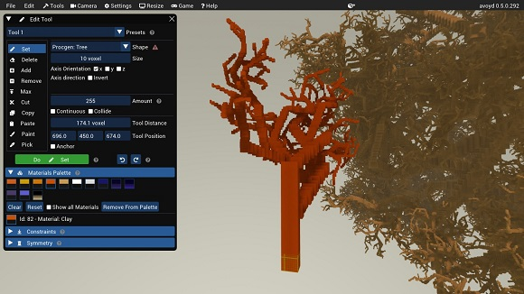 Voxel Editor showing edit tool settings for the procedural generation of trees with various starting sizes