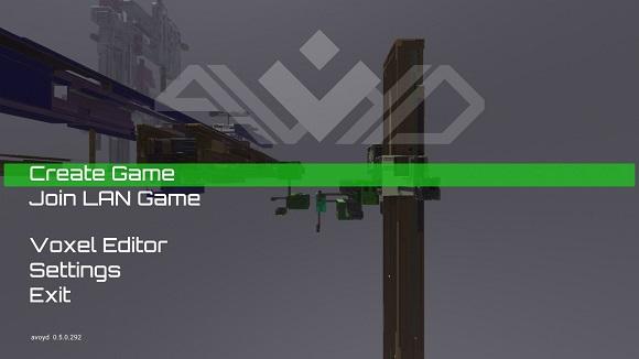 Avoyd splash screen, Create Game selected