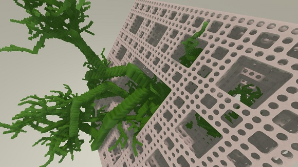 Procedural tree growing out of a Menger sponge. Raytracing test avoids collision of the tree branches with the walls of the Menger sponge