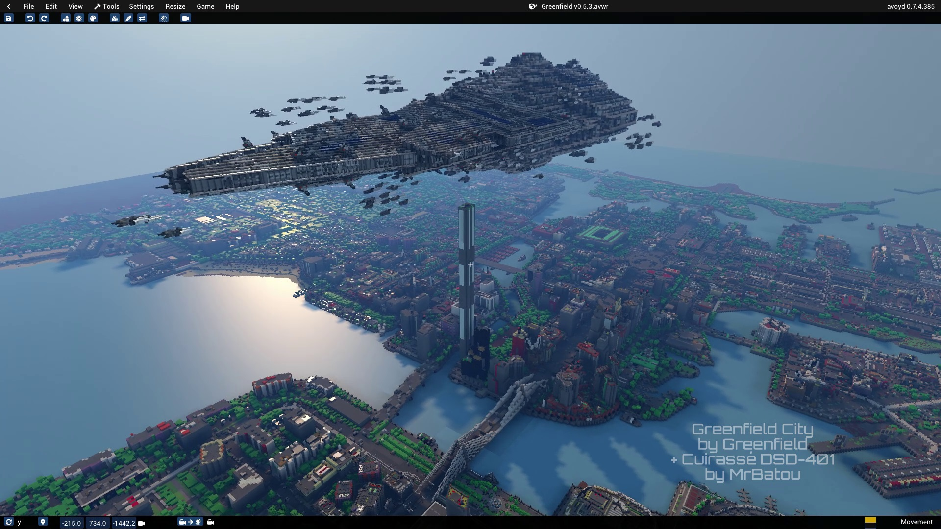Avoyd Voxel Editor screenshot - Mash-up of Minecraft maps Greenfield city and Cuirassé DSD-401 by MrBatou imported into Avoyd and combined together using the voxel editor tool 'Save/Load world as paste brush'.