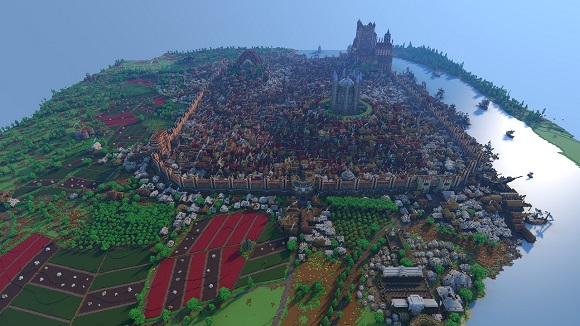 Screenshot of the entire King's Landing by Westeroscraft Minecraft map, rendered in Avoyd voxel editor