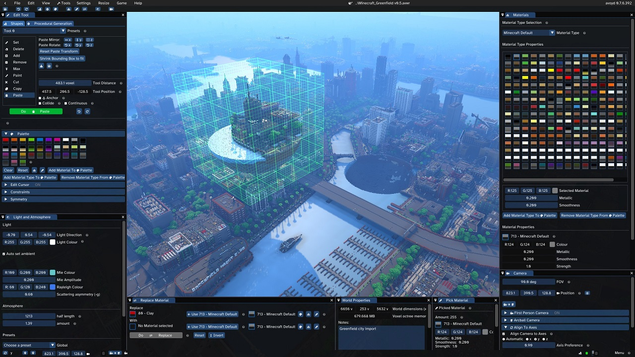 Screenshot of Minecraft map Greenfield City in Avoyd's voxel editing tool, showing the editor's user interface. The user is doing a spherical cut and paste of part of the model.