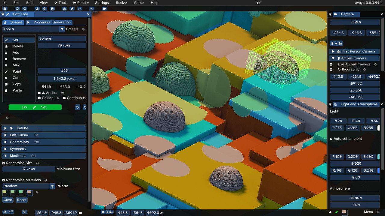 Avoyd voxel editor user interface showing the Edit shape tool with modifier random size and shape. The drawing area shows cubes and spheres in colors selected at random from a custom palette of four materials (coloured yellow, green, blue and pink)