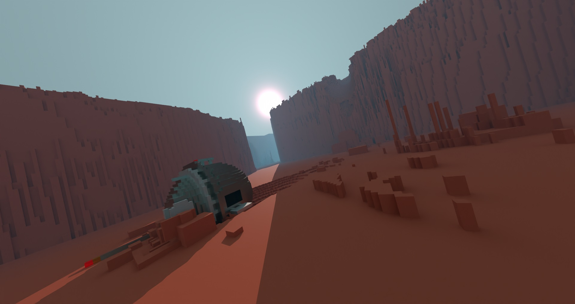 Crash Site, voxel art created and rendered in Avoyd by Rebecca Michalak