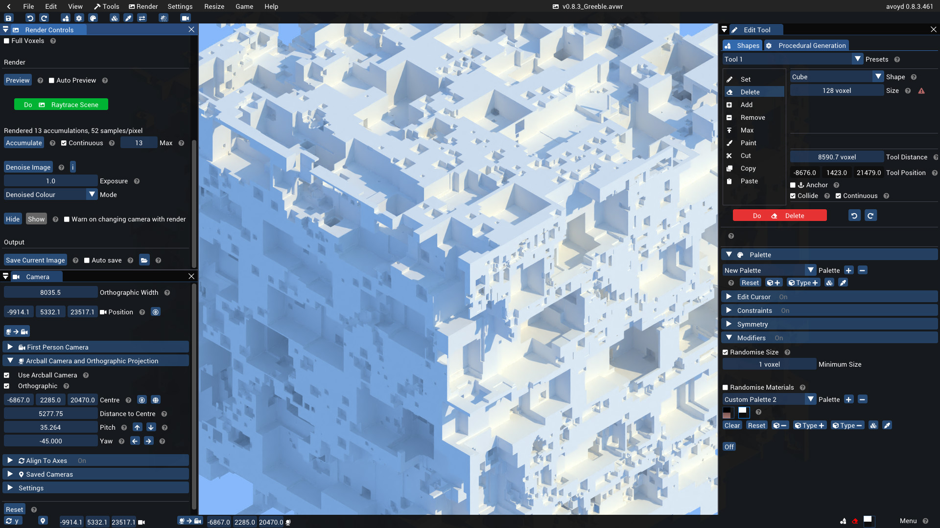 A large white voxel cube greebled with cubic holes of varying sizes. Made using the Edit Tool's shape size randomiser