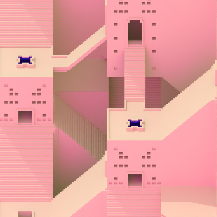 """Avoyd path traced render of isometric projection of buildings and staircases, with pink lighting. Inspired by voxel model """"Carved City"""" by Antoine Lendrevie"""