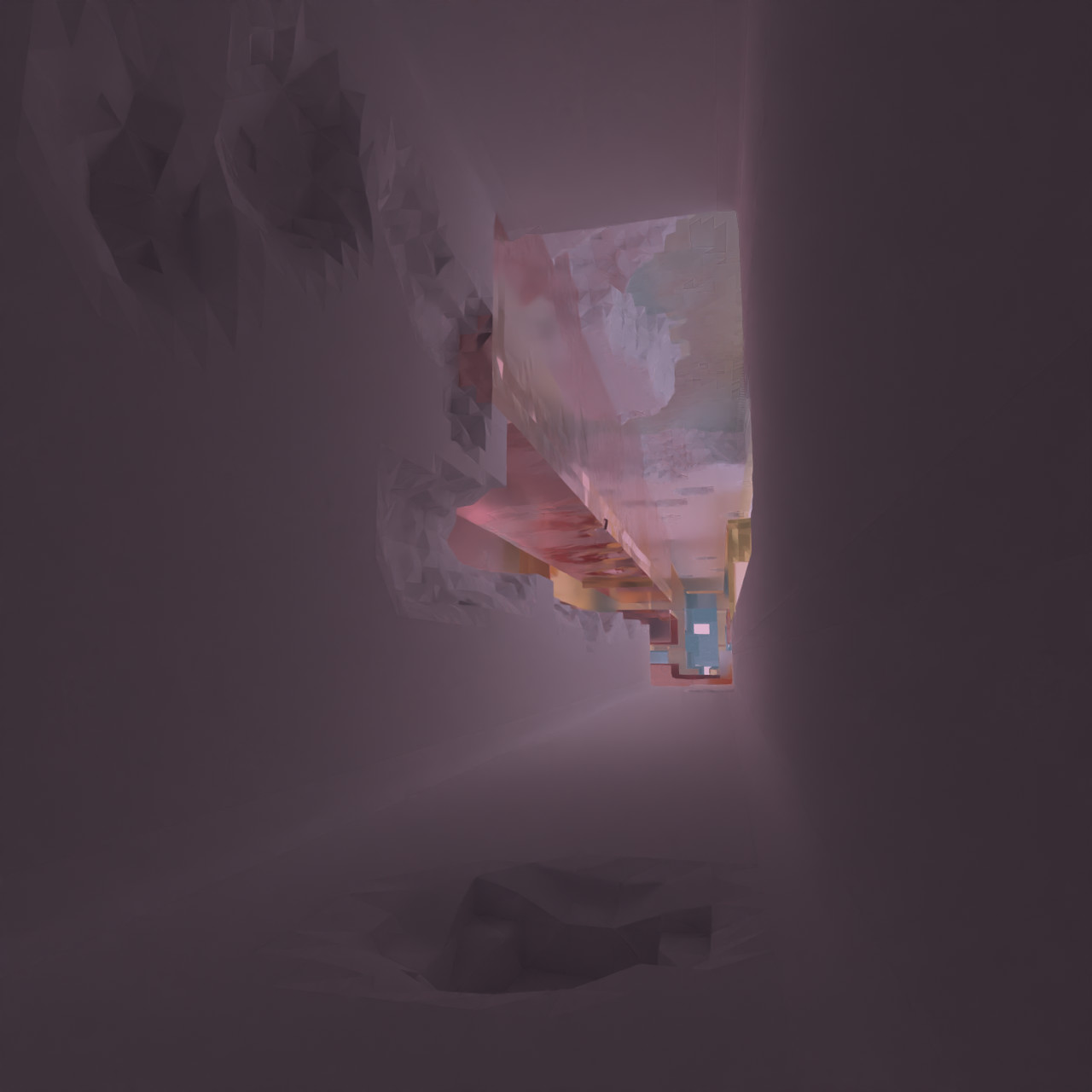 Avoyd path traced render of the inside of a procedurally generated corridor damaged in-game