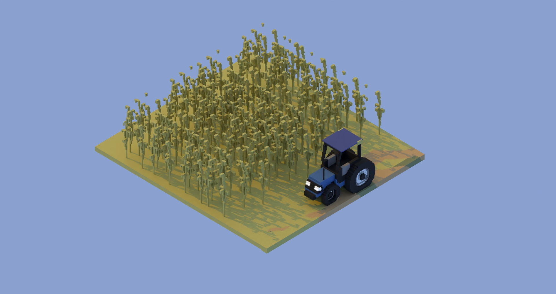 Cornfield and Tractor, isometric voxel art scene created and rendered in Avoyd by Rebecca Michalak