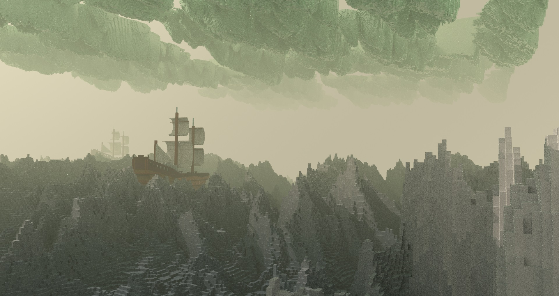 Sea Galleon in a Storm, voxel art created and rendered in Avoyd by Rebecca Michalak
