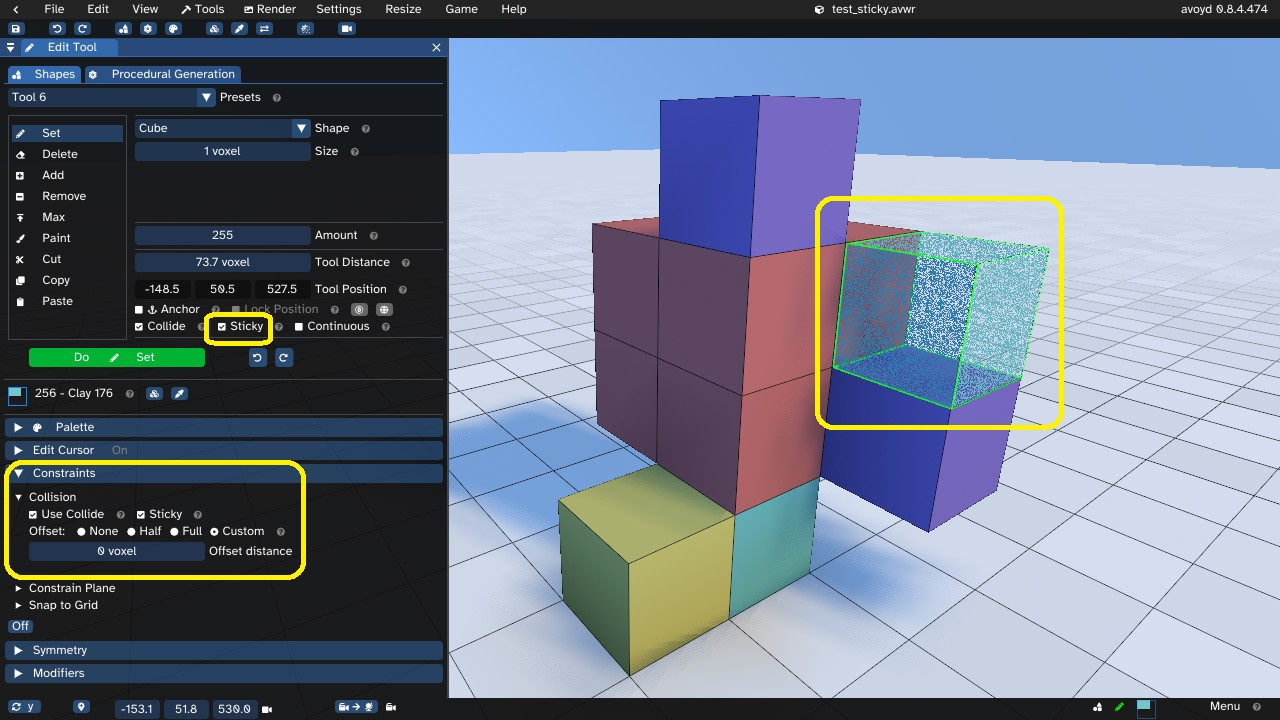 Avoyd voxel editor showing the Edit Tool user interface options for Sticky editing and collision offset