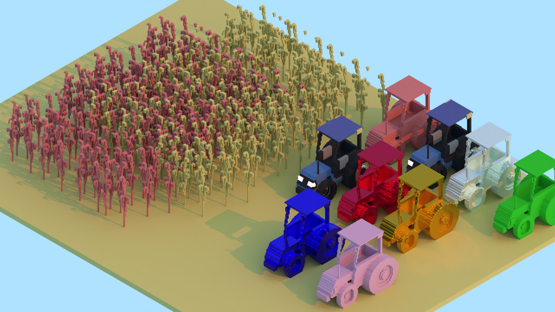Avoyd voxel editor showing the path traced result of paste as single material: a cornfield in two overlapping colours and duplicates of a tractor model