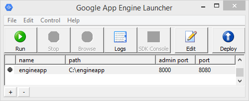 Default application 'engineapp' in the Google App Engine Launcher